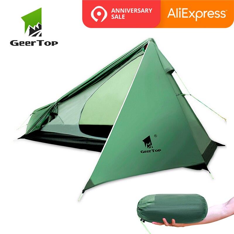 GeerTop Сверхлегкий Кемпинг складываемая палатка один человек 3 сезон Wateproof легкий палатка для пеший туризм походы открытый три