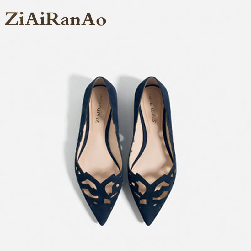 Summer Fashion Shoes Woman Shallow Cut Outs Women Flats Pointed Toe Women Sandals Nubuck Leather Casual Brogue Shoes Big Size plue size 34 49 spring summer high quality flats women shoes patent leather girls pointed toe fashion casual shoes woman flats