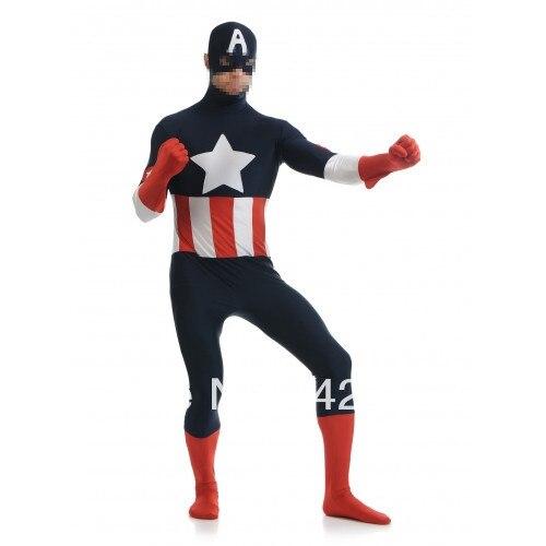 Tamsiai mėlyna ir raudona ir balta spandekso kostiumas Captain - Karnavaliniai kostiumai - Nuotrauka 2