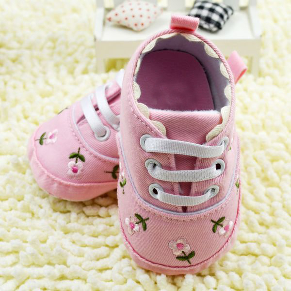 3-12M Cute Embroidered PinkWhite Lace Baby Shoes Kids Girls Toddler Soft Bottom Shoes