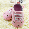 3-12M Cute Embroidered Pink\White Lace Baby Shoes Kids Girls Toddler Soft Bottom Shoes
