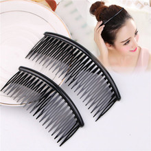 2 Size Women Simple Black Plain Hair Comb Big Plastic Hair Holder Vintage Solid Hair Clips