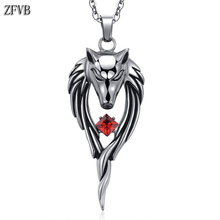 ZFVB Wolf Head Pendant Necklace Stainless Steel Titanium Men Personality Unique Mens Animal Jewelry