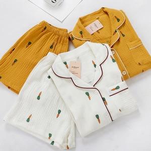 Image 2 - Kadın pijama takımı yaz konfor gazlı bez pamuk turn aşağı yaka pijama seti bayanlar ince gevşek karikatür havuç baskılı ev tekstili