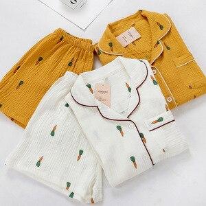 Image 2 - Women Pajamas Set Summer Comfort Gauze Cotton Turn down Collar Sleepwear Set Ladies Thin Loose Cartoon Carrot Printed Homewear