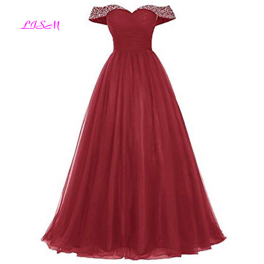 Burgundy Boat Neck Crystal Tulle   Bridesmaid     Dresses   Sweetheart Ruffled Long   Dress   for Wedding Party Empire Sleeveless Prom Gowns