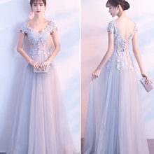 2019 robe de soriee V Neck Cap Sleeve Vintage Lace Long Prom Dresses Women Light  Gray cb1b16a7604d