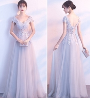 2019 robe de soriee V Neck Cap Sleeve Vintage Lace Long Prom Dresses Women Light Gray Formal Evening Party Gowns vestiods