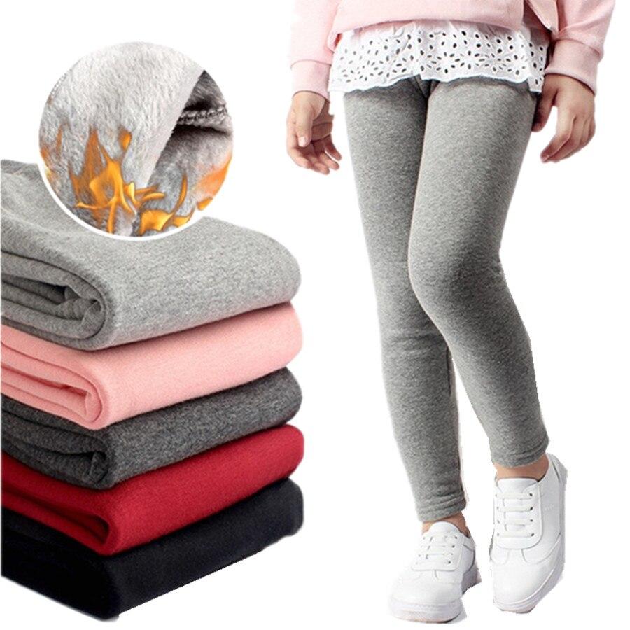4ec451a068044 Леггинсы для девочек Осень зимняя обувь с шерстью детские узкие брюки  хлопковые утепленные детские штаны для малышей и подростков одежда д.