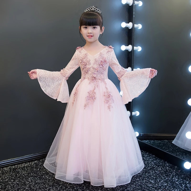 2018 Summer New Luxury Girls Kids Flowers Birthday Party Wedding Ball Gown  Dress Children s Baby Costume Fancy Christmas Dresses 004a4358ecf8