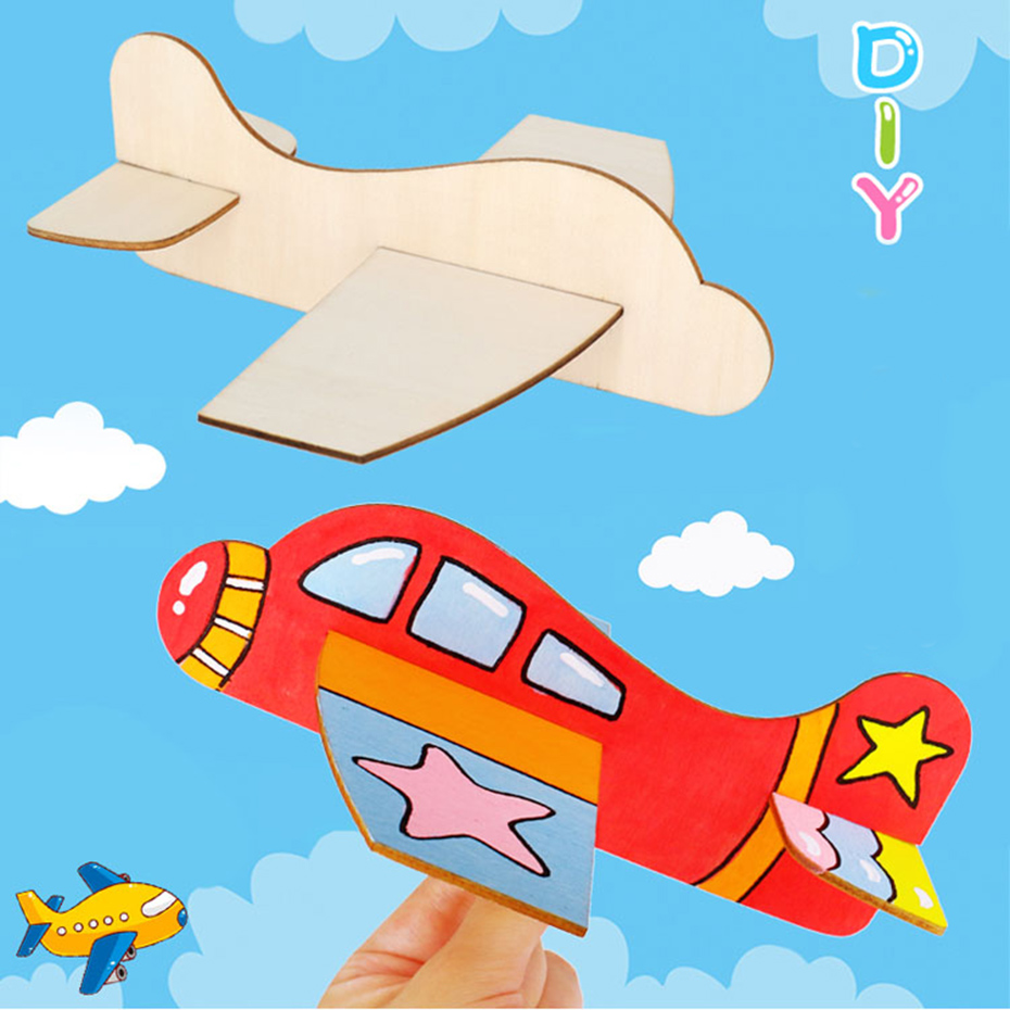 1pc Baby Plane Wooden Toys Children's Puzzle DIY Drawing Toys Baby Gifts Wooden Plane DIY Handmade Gifts Baby Crafts Toys