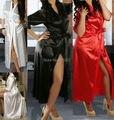 Womens Long Black Sexy Lingerie Silk Kimono Dressing Gown Bath Robe Babydoll Lingerie Nightdress Sexy Costumes
