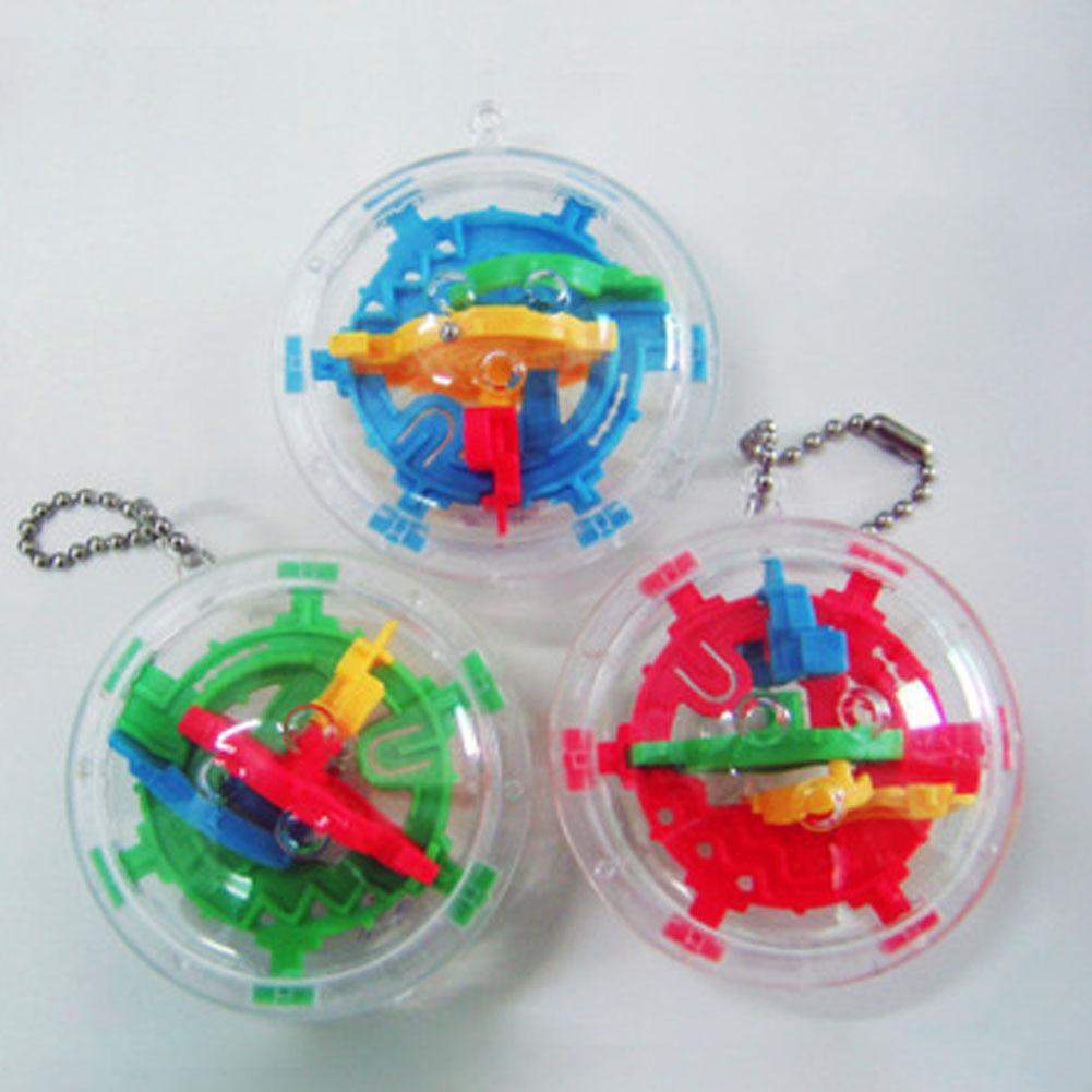 3D Mini Magic Intellect Maze Ball Kids Children Balance Logic Ability Puzzle Game Educational Training Tools Color Random