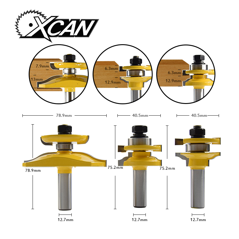 XCAN 3Pcs Rail & Stile Ogee Blade Cutter 1/2'' Shank Router Bits Set Milling cutter Power Tool Wood Cutter knife цена