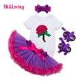 Varejo Newborn Bodysuit Shortsleeve Plissado Meninas Saia Tutu para o Bebê Recém-nascido Sapatos Lolita Crianças Usar Roupas YK & Amando F5027