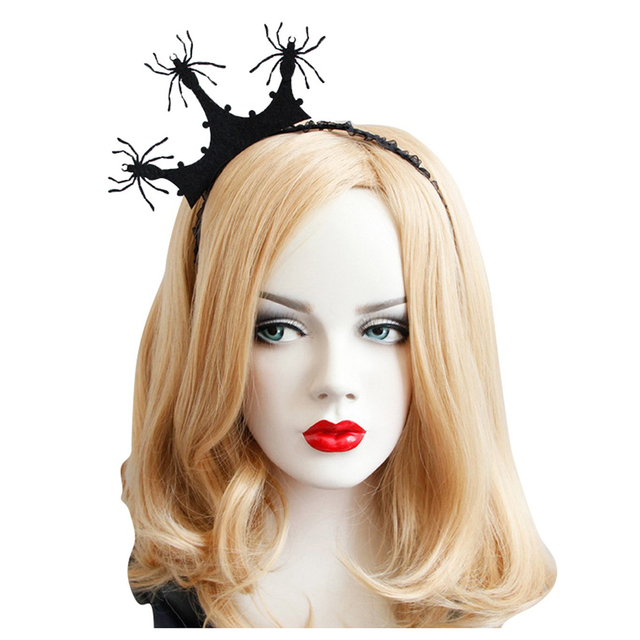 halloween costume party black crown spider fascinator hair hoop headband headwear for halloween masquerade ball party