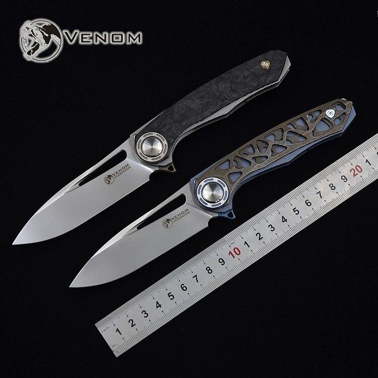 VENENO M390 lâmina titanium arpão FACA dobrável ao ar livre camping caça survival bolso facas de cozinha faca de frutas ferramenta edc