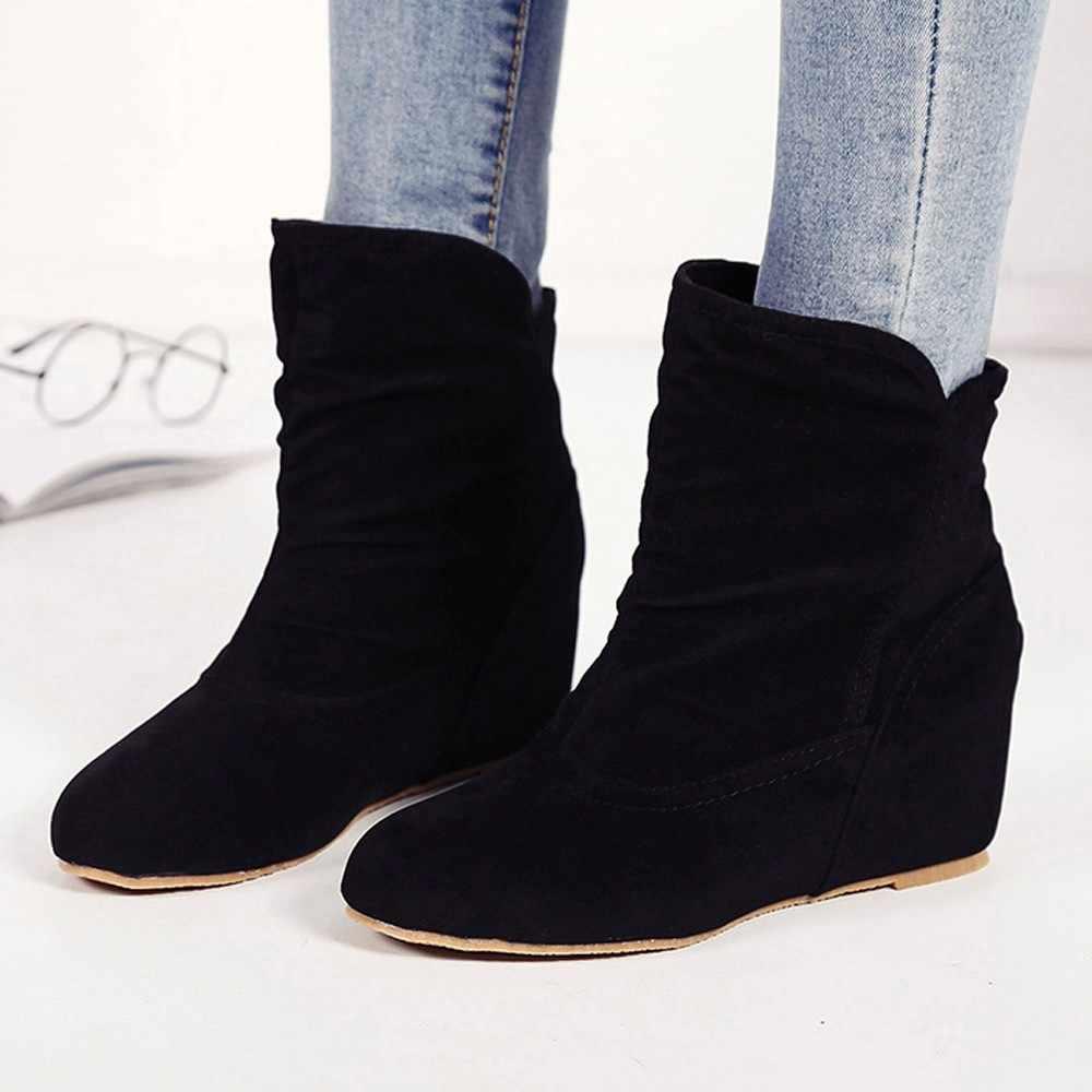 Kadın Artış Içinde Çizme Patik Kama günlük çizmeler Vintage bileğe kadar bot Ayakkabı Kadın kış Bayan Kar Botları Moda Klasik Sıcak