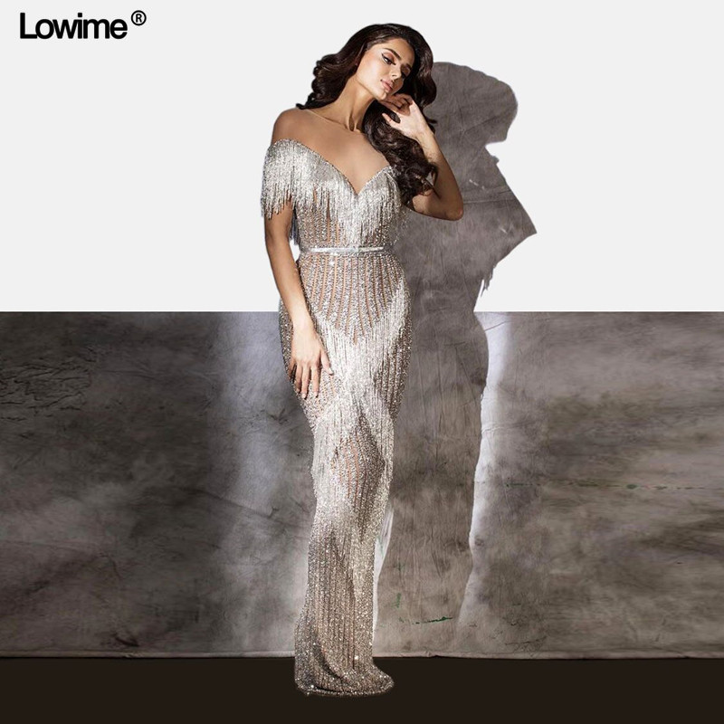 Lowime Sexy Crystal Bling Evening Dresses Mermaid Sheer Neck Heavy Hand Made Evening Prom Party Gowns New Celebrity Gowns