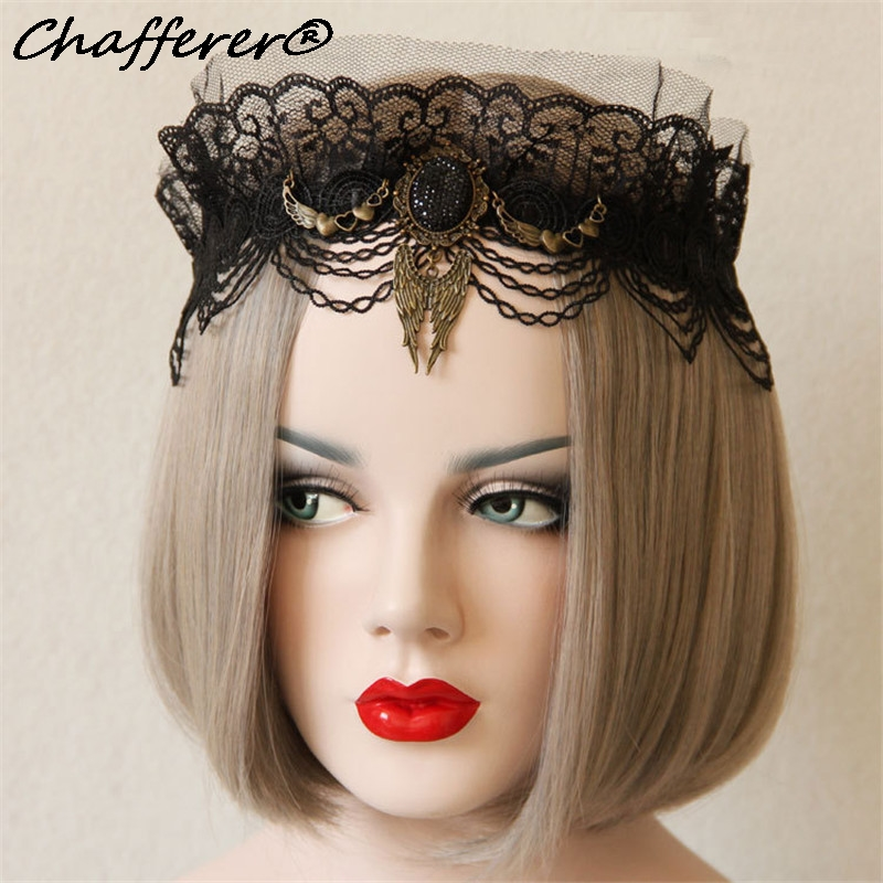 High Quality Black Lace Hair Bands Headdresses Accessories Wings Gem Volume New Design Crown Headband 6520207