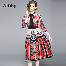 ARiby Women Fashion Printed Elegant Dress 2019 Spring/Summer New Office Lady Slim Three Quarter Sleeve Bow Neck A-Line Dress lace dress women elegant 2019 spring summer new stripes printed round neck three quarter sleeved slim a line midi dress s xxl