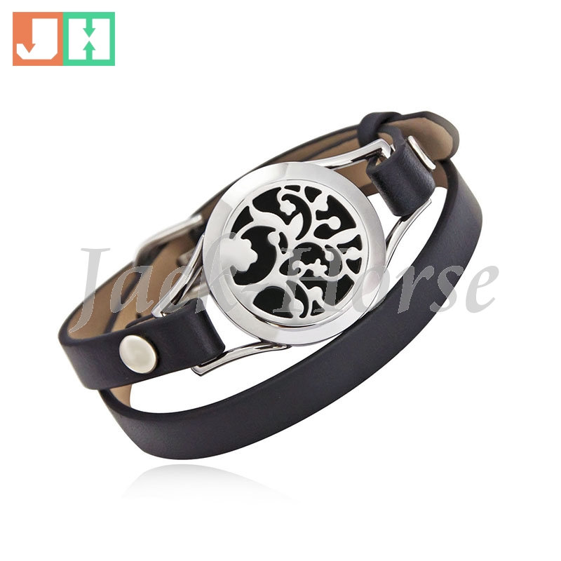 25mm Essential oil diffuser bracelet 316L stainless steel twist locket bracelet with genuine leather band match