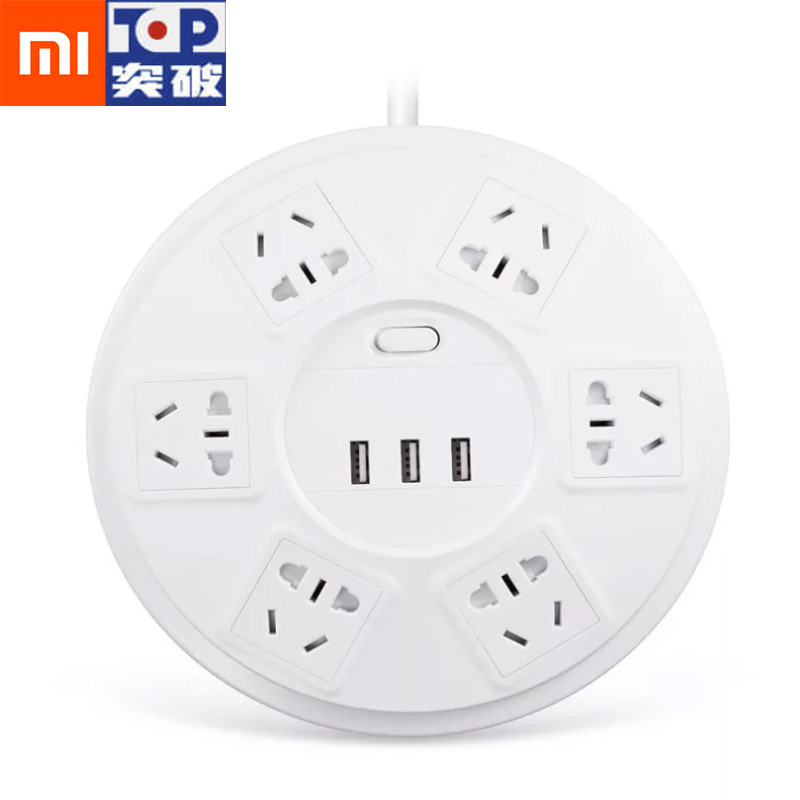 Xiaomi TP Power Strip Lightning Protection 6 Ports With 3 USB 2500W 10A Fast Charge 2