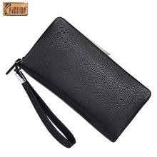 Pabojoe Mens Italian 100% Genuine Leather Long Wallet Fashion Purse With Card Holder Wrist Bag.