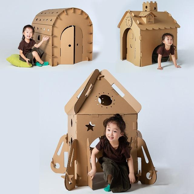 US $88 8 20% OFF|Super Big Size Children's Graffiti Cardboard House  Creative Handmade DIY Parent child Colorful Model Building Set Space  House-in Card