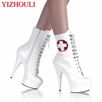 Ultra 15cm Sexy Lace Up High Heel Shoes Women Pu Leather Boots Back Zipper Ladies Ankle