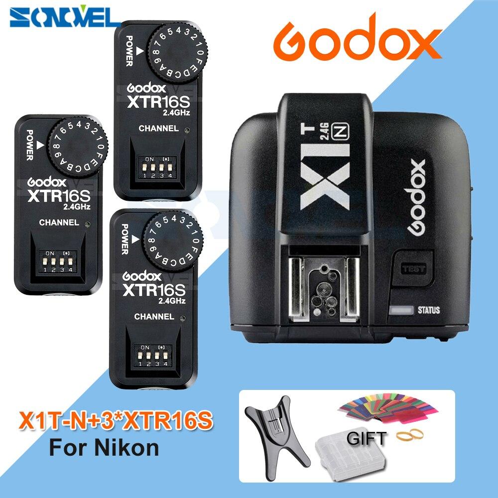 Godox X1T-N TTL 2.4G Wireless Trigger for Nikon+3x XTR-16S Flash Receiver for Godox V850 V860IIC/F V860C/N V850II speedlite godox x1t n ttl 2 4g wireless trigger for nikon 3x xtr 16s flash receiver for godox v850 v860iic f v860c n v850ii speedlite
