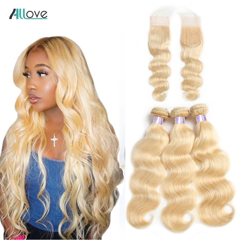 Allove Blonde 613 Bundles With Closure Body Wave Bundles With Closure Brazilian Hair Weave Bundles Remy