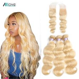 Mèches naturelles Body Wave brésiliennes Remy avec Closure-Allove | Blond 613, 4 pièces