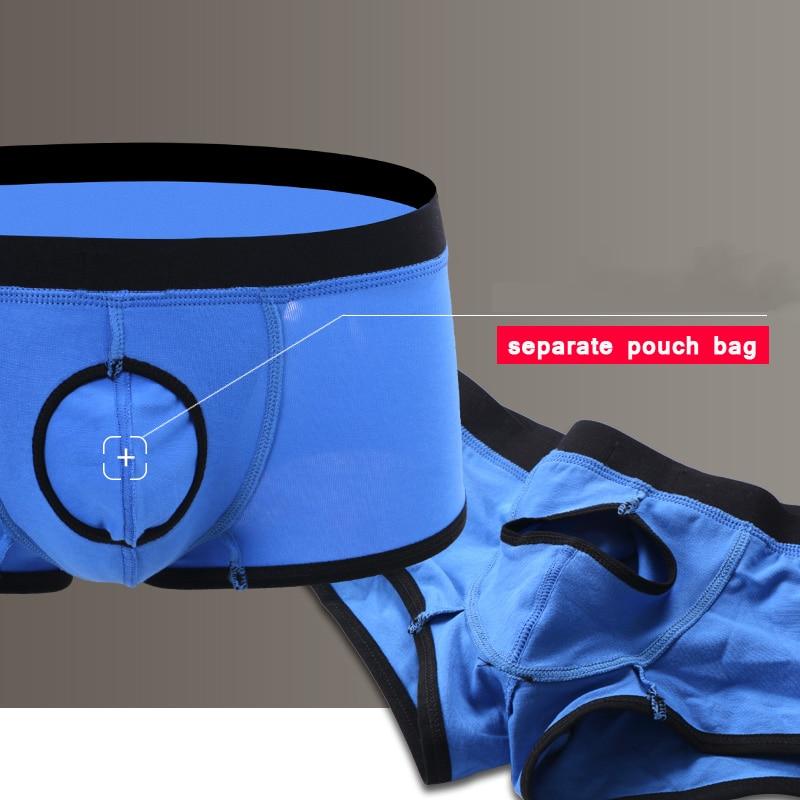 Wang Jiang Open Front Underwear Men Cotton Sexy Men's Boxer Shorts Penis Hole Panties Breathable Pouch Bulge Underpants Male