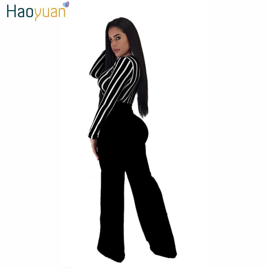 a344382ff5 HAOYUAN Sexy Deep-V Long Sleeve Jumpsuit Autumn Stripe Bandage ...