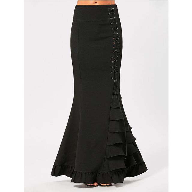 CharMma Elegant Women Victorian Gothic Criss Cross Side Ruffled Maxi Mermaid Skirt Slim Modern Fishtail Long Skirt For Girls