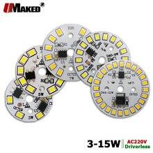 Pcb alto brilho, 5 peças ac220v led 3w 5w 7w 9w 12w 15w smd2835 placa de fonte de alumínio do driver ic inteligente integrado para lâmpadas led