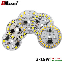 5 قطعة AC220V LED PCB عالية السطوع 3 واط 5 واط 7 واط 9 واط 12 واط 15 واط SMD2835 المتكاملة الذكية IC سائق الألومنيوم مصدر ضوء لوحة لمبات LED