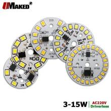 Placa de fuente de luz de aluminio para bombillas LED, AC220V, LED PCB, alto brillo, 3W, 5W, 7W, 9W, 12W, 15W, controlador IC integrado inteligente, 5 uds.