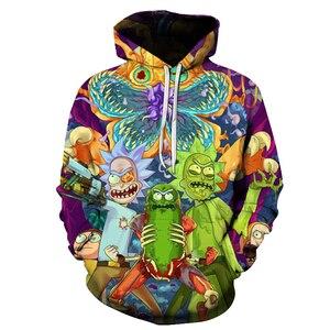 Image 1 - modis hoodies rick and morty mens hoodies 3D printed sweatshirts men hip top tops mens hoodies moda hombre 2018 Plus Size