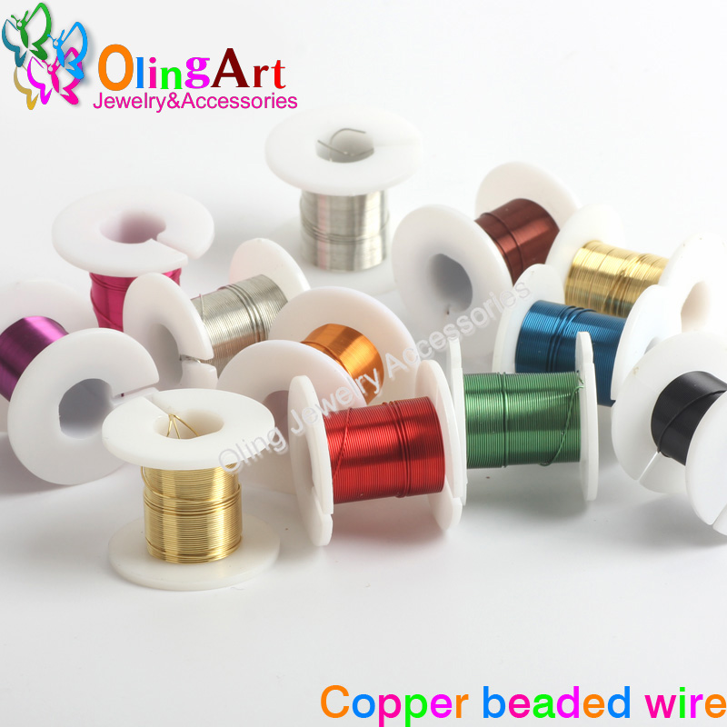 OlingArt 0.3/0.4/0.5mm*3yd(2.74M) 1rolls/lot Copper Plating 10 Colour Mixed Multicolor Bead Wire DIY Jewelry Accessories Rope