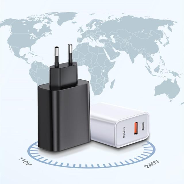 EU Plug with USB and Type C Ports