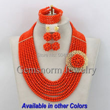 Orange Coral African Beads Jewelry Set Nigerian Beads Jewelry Set for Wedding 2016 Fashion Jewelry Set Free Shipping GS379