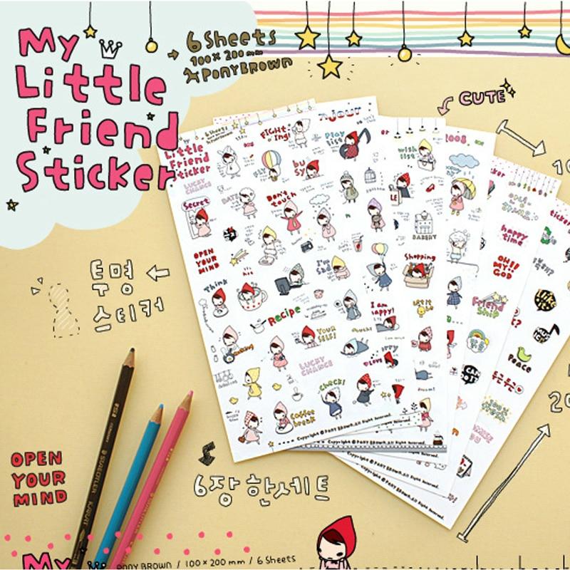 6 Pcs/Set Free Shipping Pony Brown Transparent Sticker My Little Friend Kawaii Stickers Memo Pad Material Escolar my fairies sticker storybook