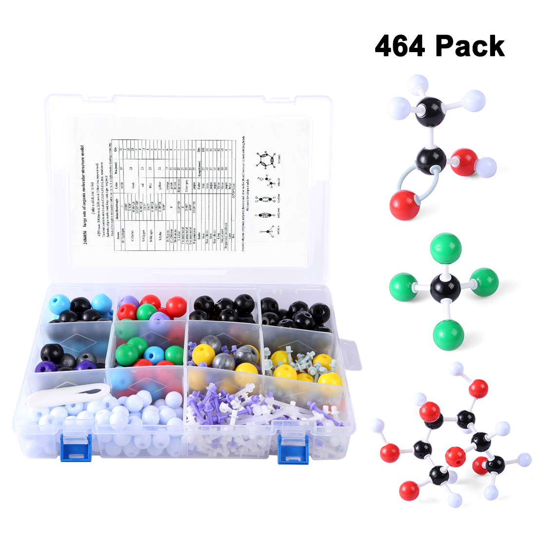 464Pcs Class Teaching Organic Inorganic Molecule Chemical Structure Model Set for Kids Students Learning Educational Science Toy цена