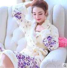 Ladies and Men Long Bathrobe Women flower Flannel Kimono Bath Robe Bridal Wedding Bridesmaid Robes Dressing Gown Peignoir Badjas(China)