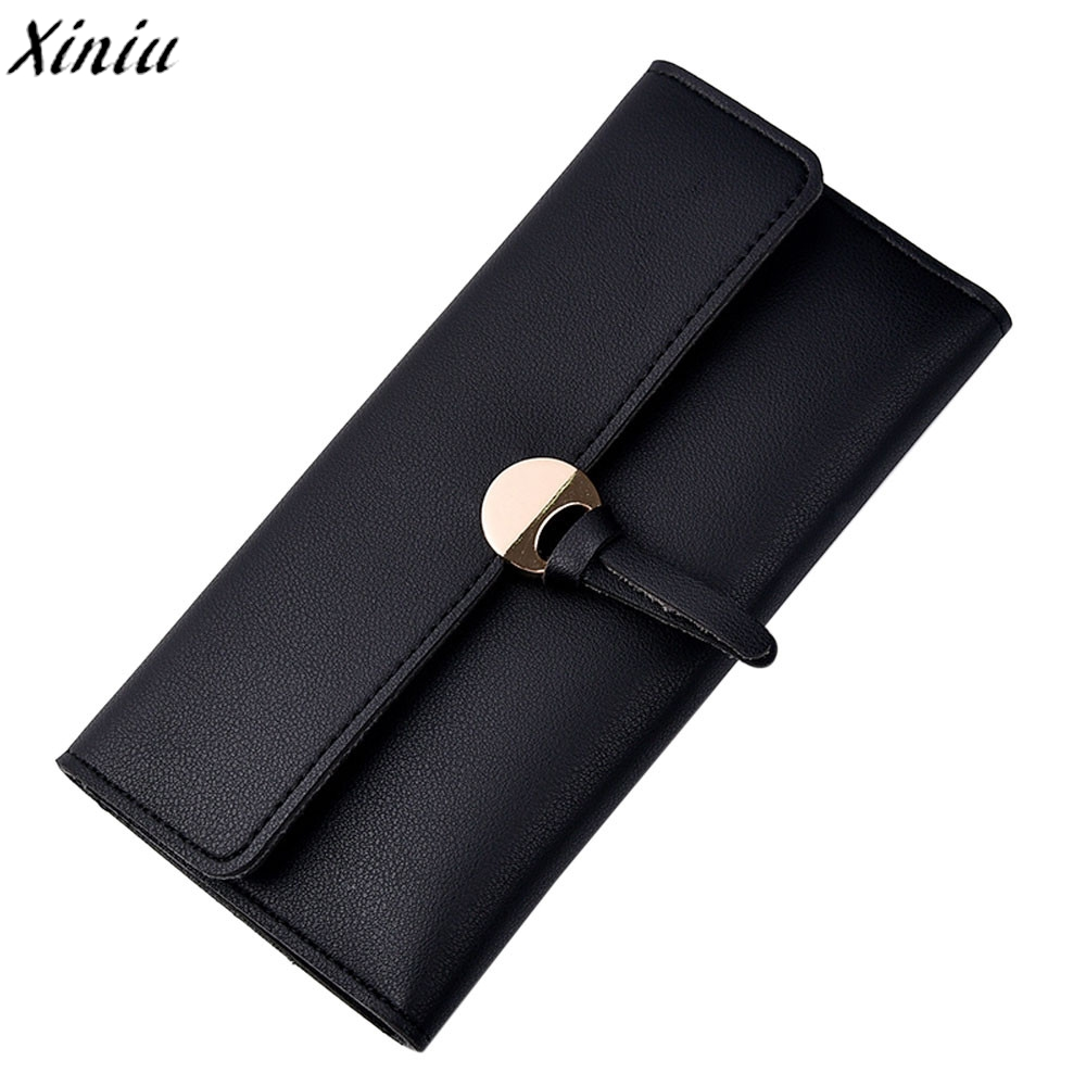 Wallet Women Leather Solid Color Hasp Long Purse Girls Cute Pendant Leisure Clutch Bag Qulited Money Bag Porte Monnaie #Y214