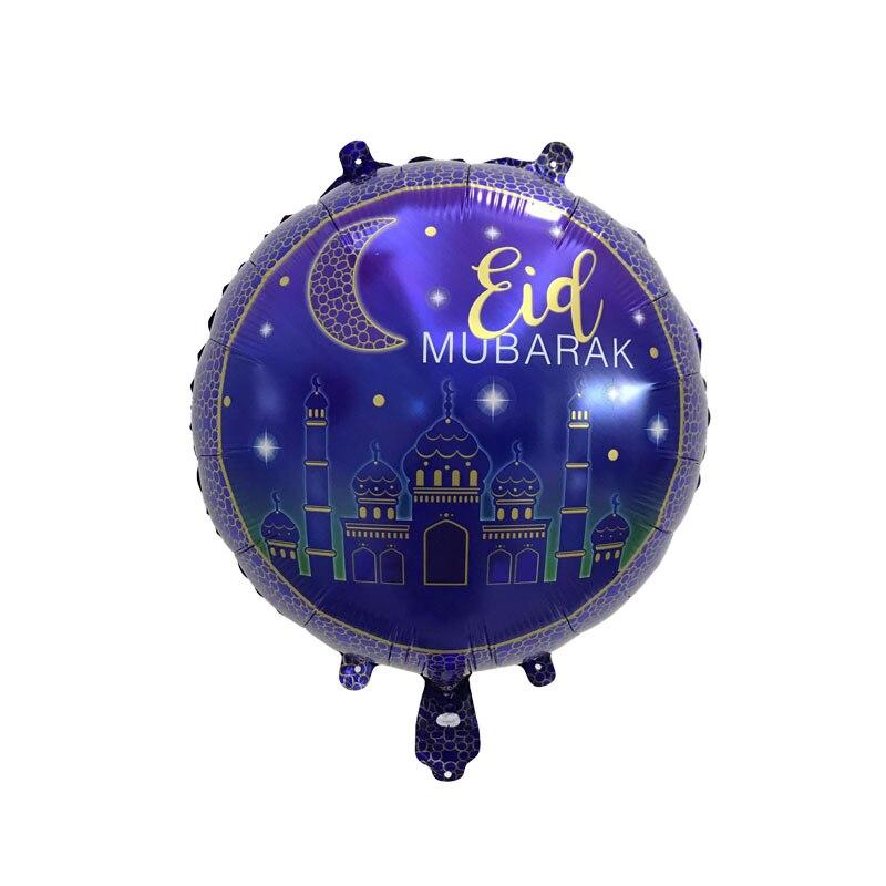 18 inch Round Eid Mubarak Foil Balloons Hajj Mubarak Decorations Star Moon Helium balloon Ramadan Kareem Eid Al Fitr Supplies in Ballons Accessories from Home Garden