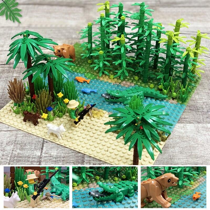 Cidade graden blocos grama bush flor árvore plantas blocos de construção para legoe técnica amigos blocos diy moc brinquedo montar partículas