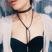 N824 wrap choker necklace women 2017 circular tube long wool black punk choker collar necklace velvet.jpg 200x200